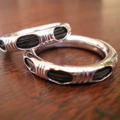 Silver with Elephant Hair Mahout Ring