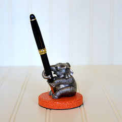 Pewter Elephant & Stingray Base Pen Holder - Tangerine