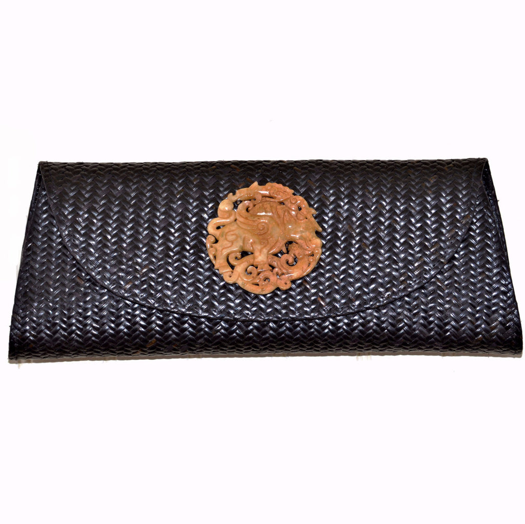 Black Rattan and Snake Skin Clutch with Soapstone Medallion (Tan Medallion)