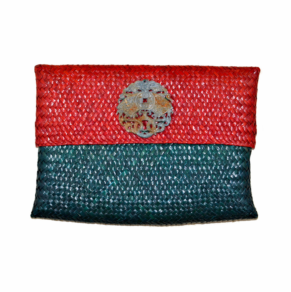 Rattan Clutch with Carved Soapstone Medallion (Green and Red)