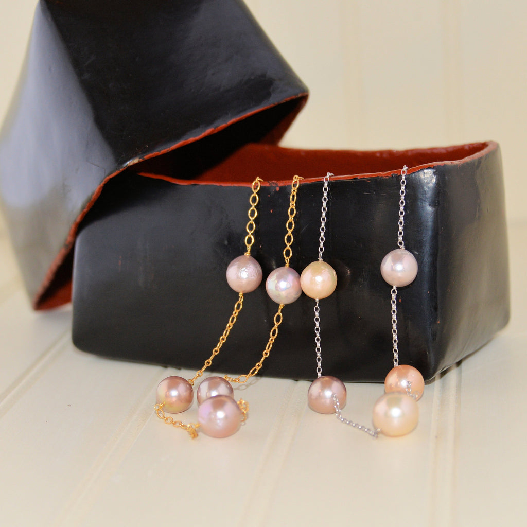 Baroque Pearls on Chain Necklace (18 inch)