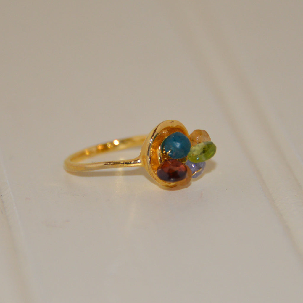 Mixed Gems Gold Ring
