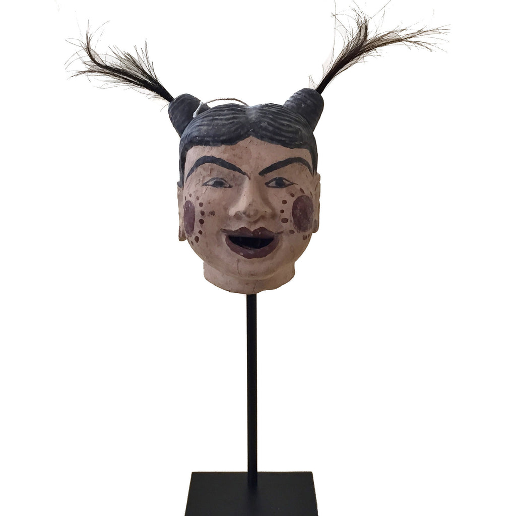 Antique Thai Puppet Head on Stand