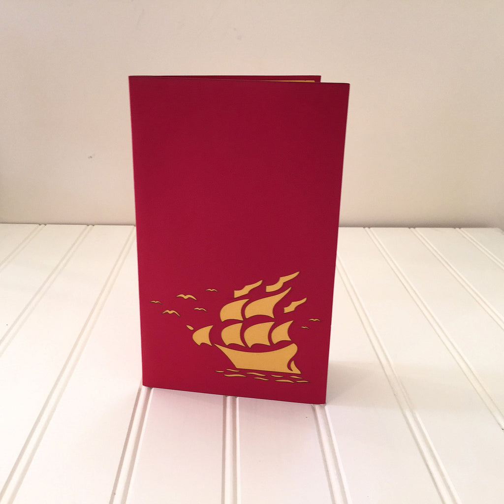 Vietnamese Hand-made Pop-up Card - Boat with Gold Surface