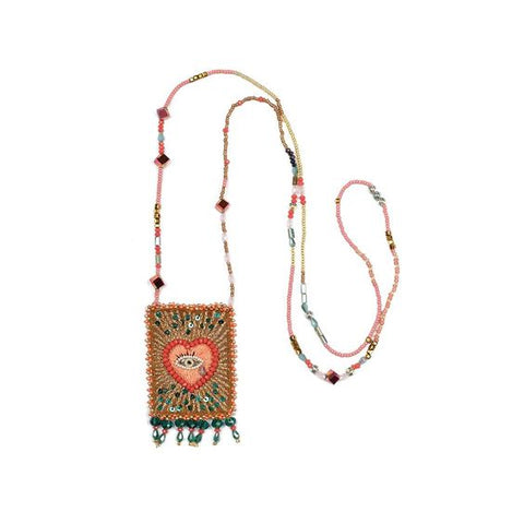 Olivia Dar Talisman Necklace - Coral, Mint, Peach