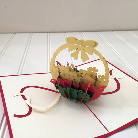 Vietnamese Hand-made Pop-up Card - Flower Basket Bouquet