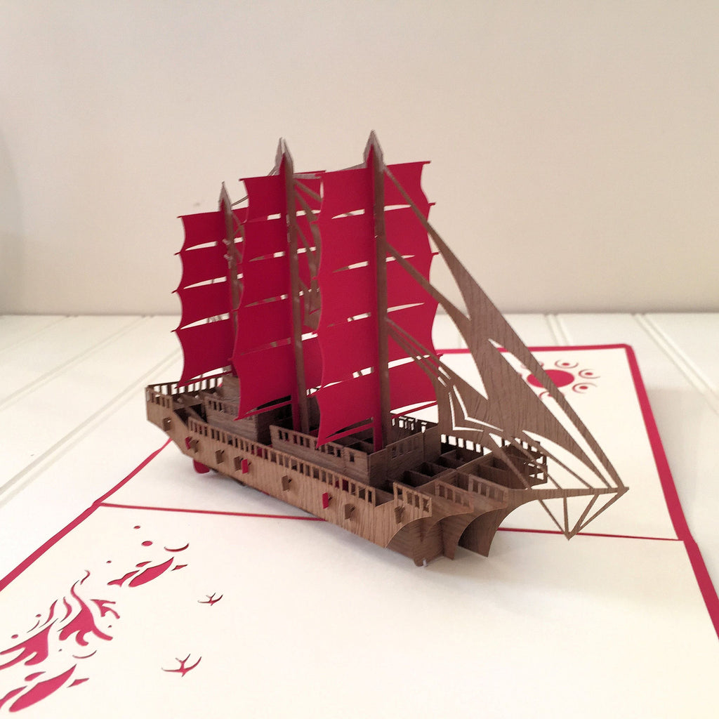 Vietnamese Hand-made Pop-up Card - Boat with Red Sails