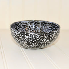 Eggshell Lacquered Coconut Shell Bowls - Black and White