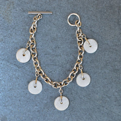 5 Conch Shell Charm Bracelet with T-Bar Clasp