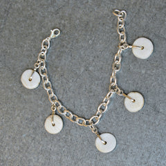 5 Conch Shell Charm Bracelet with Claw Clasp