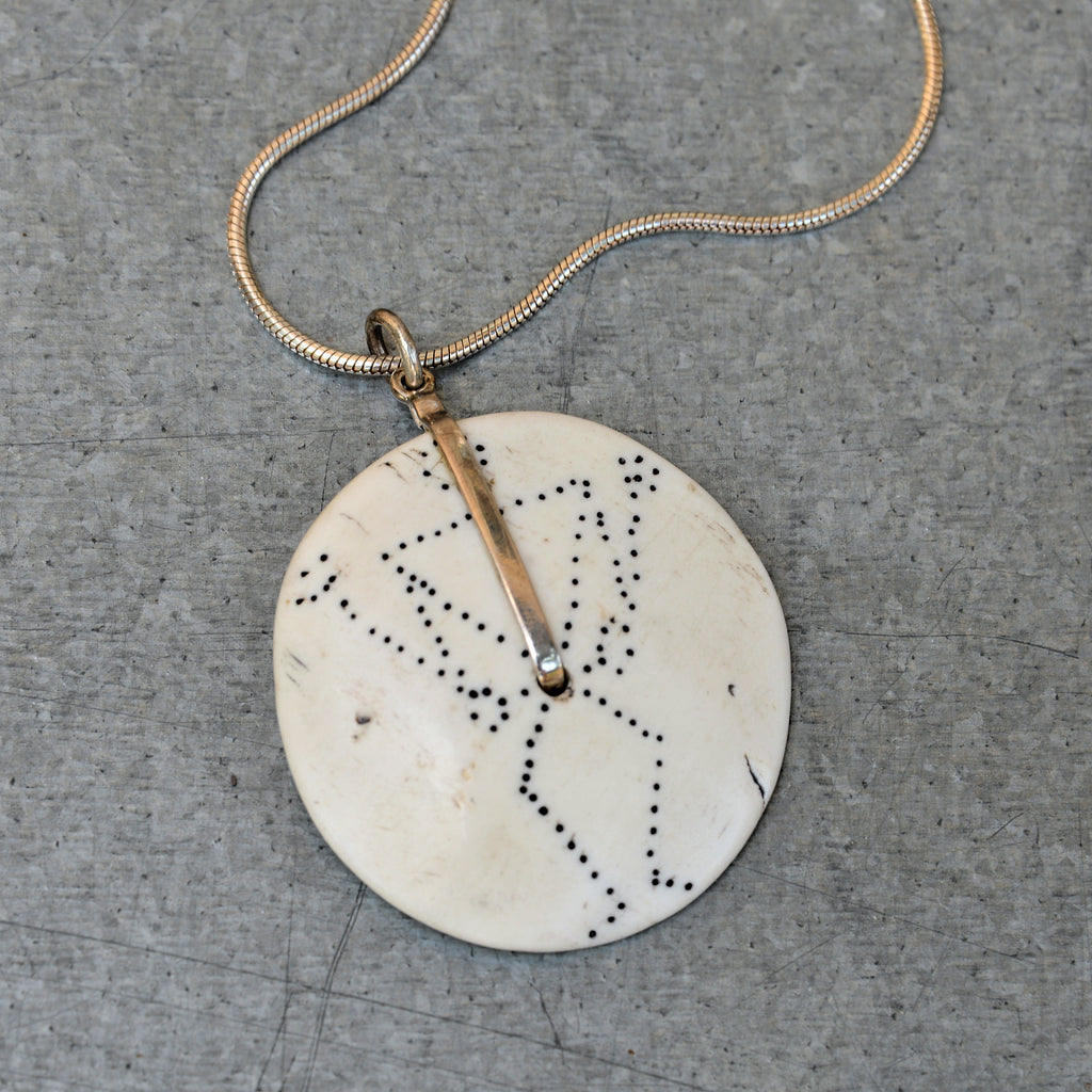 Conch Shell with Stick Figure Pendant Necklace (off-white)