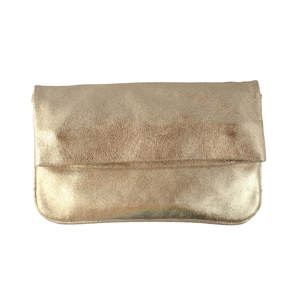 Olivia Dar Suede with Gold Metallic Bianca Clutch