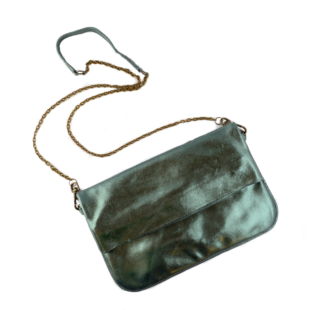 Olivia Dar Suede with Green Metallic Bianca Clutch