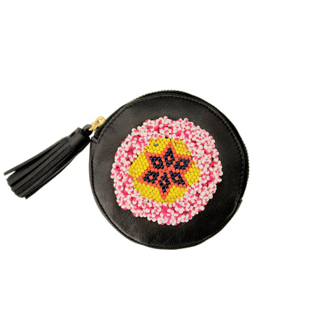 Hand-Beaded Round Coin Purse