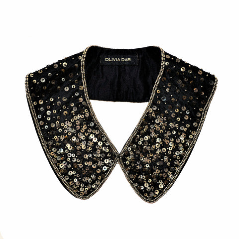 Olivia Dar Black Sequin Collar