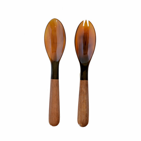 Water Buffalo Horn Salad Serving Set with Rosewood Handles