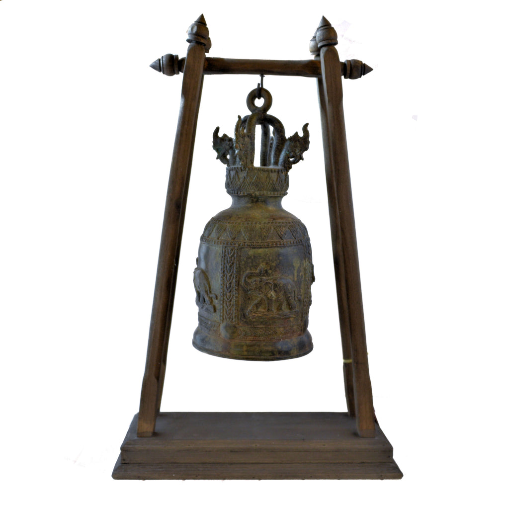 Large Elephant Temple Bell on Wood Stand (Happy Elephant)