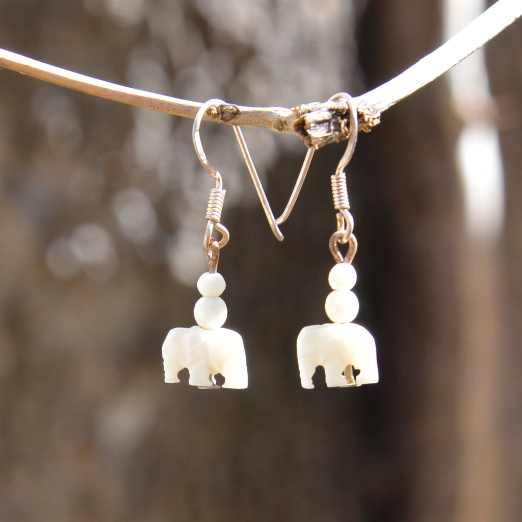 Carved Bone Elephant Dangling Earrings