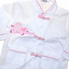 Cotton Asian Style Pajamas - White with Pink Elephant