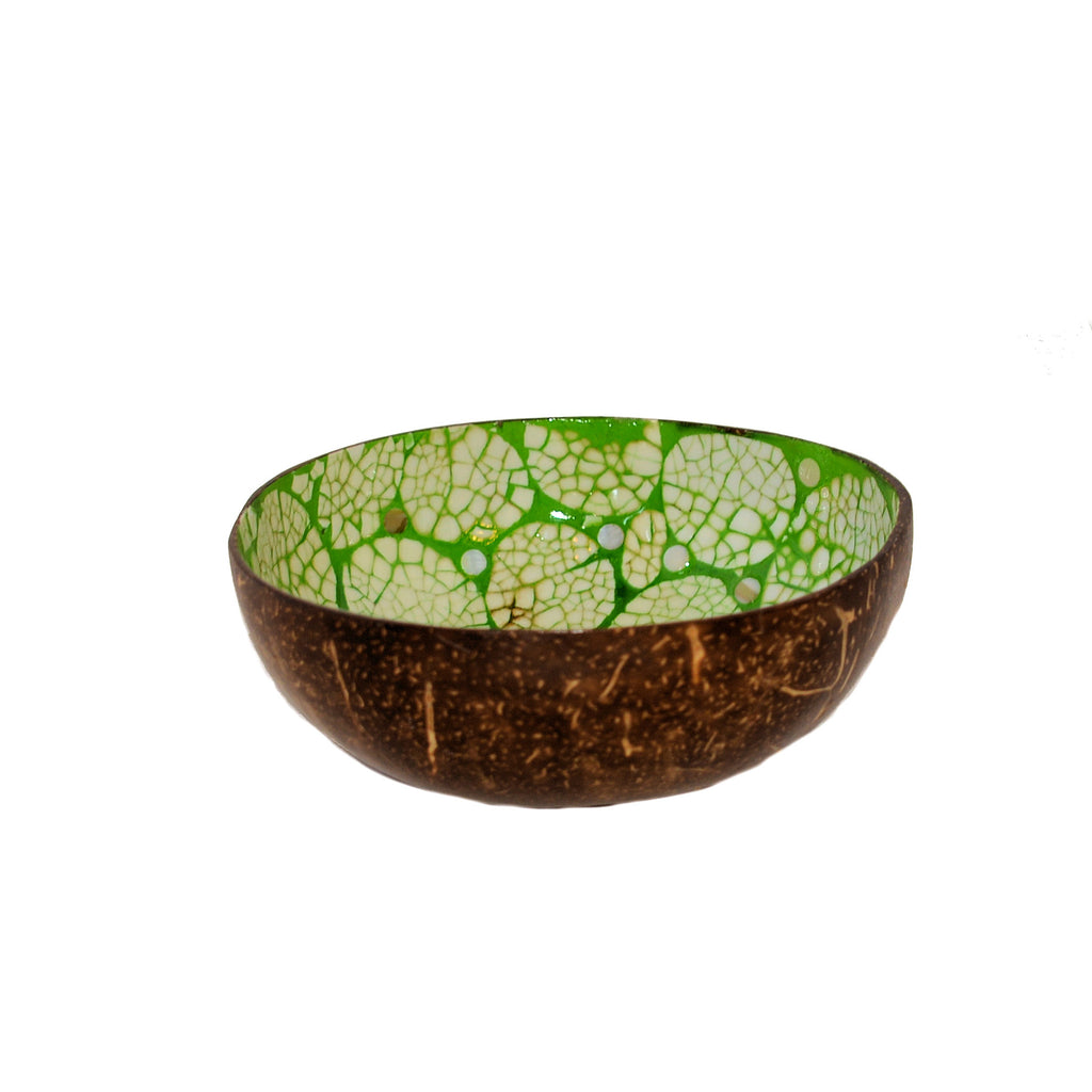 Eggshell Lacquered Coconut Shell Bowls - Lime Green and White Circle Pattern