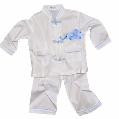 Cotton Pajamas with Snapping Frog Buttons - White with Blue Gingham Elephant (6 Months)