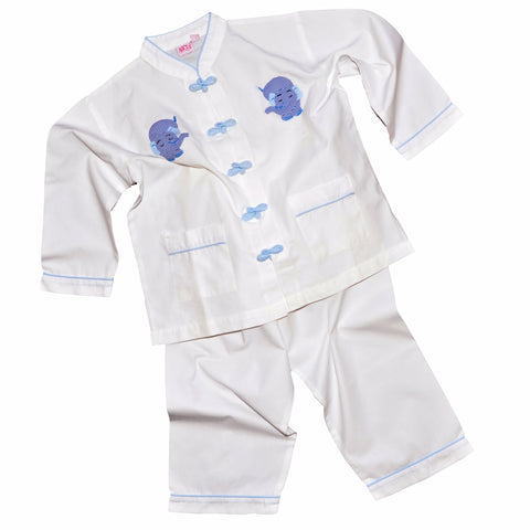 Cotton Pajamas with Snapping Frog Buttons - White with Blue Gingham Elephant (5 Years)