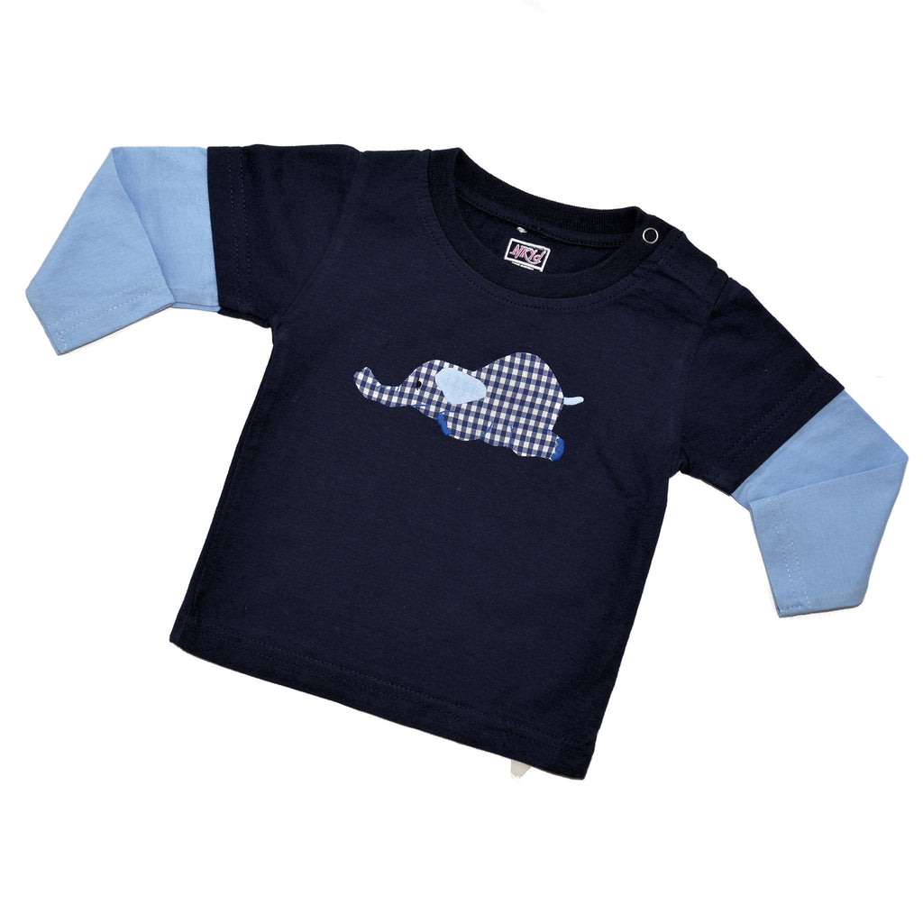 Long Sleeve Tee - Navy with Light Blue Sleeves - Laying Elephant