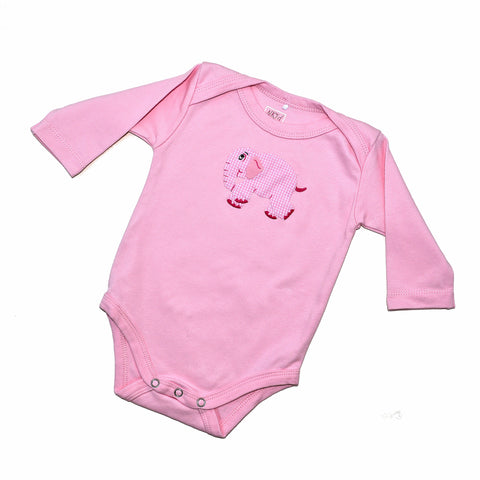 Long Sleeve Onesie - Pink with Standing Elephant