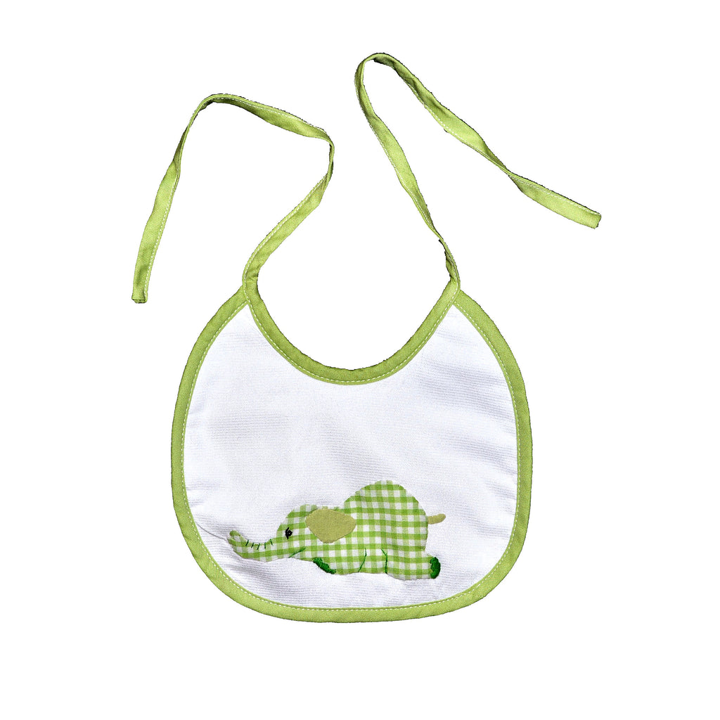 Laying Elephant Back Tie Infant Bib - Lime Green