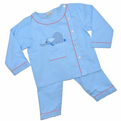 Cotton Pajamas - Blue with Blue Laying Elephant and Red Checker Piping