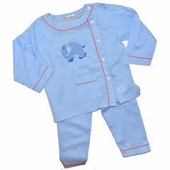Cotton Pajamas - Blue Pinstripe with Blue Standing Elephant and Red Checker Piping