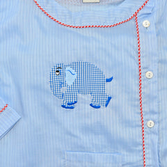 Cotton Pajamas - Blue Pinstripe with Blue Gingham Standing Elephant and Red Gingham Piping (3 Year)