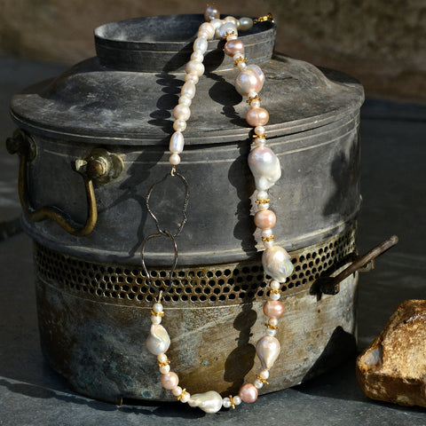 White Baroque Pearls and Oxidized Silver Ring Necklace
