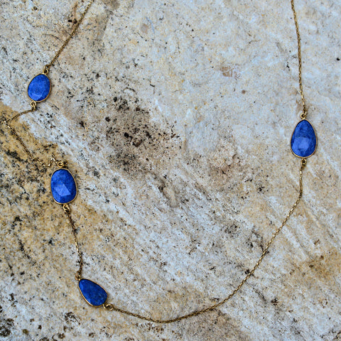 Lapis and Gold Chain Necklace