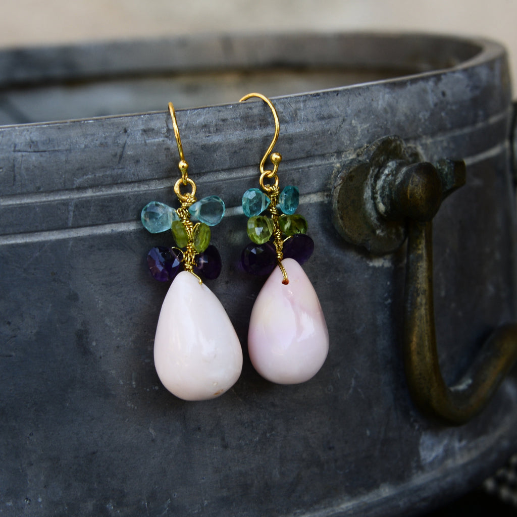 Pink Opal Drop Earrings with Semi-Precious Dangling Stones