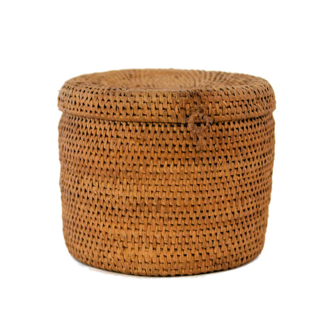 Antique Rattan Basket with Lid