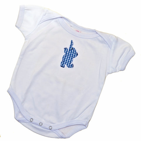 Short Sleeve Onesie - White with Blue Dancing Elephant