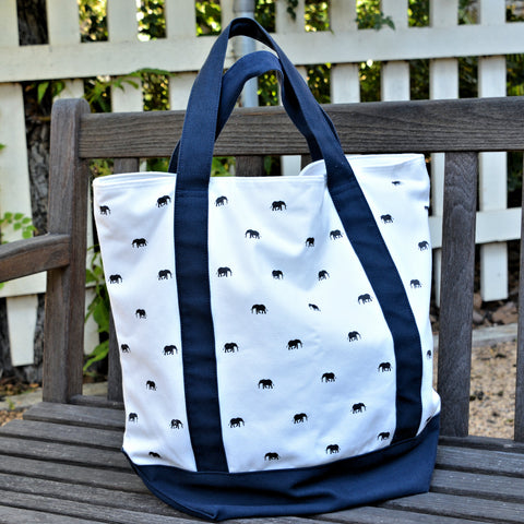 Elephant Print Tote Bag with Blue Trim