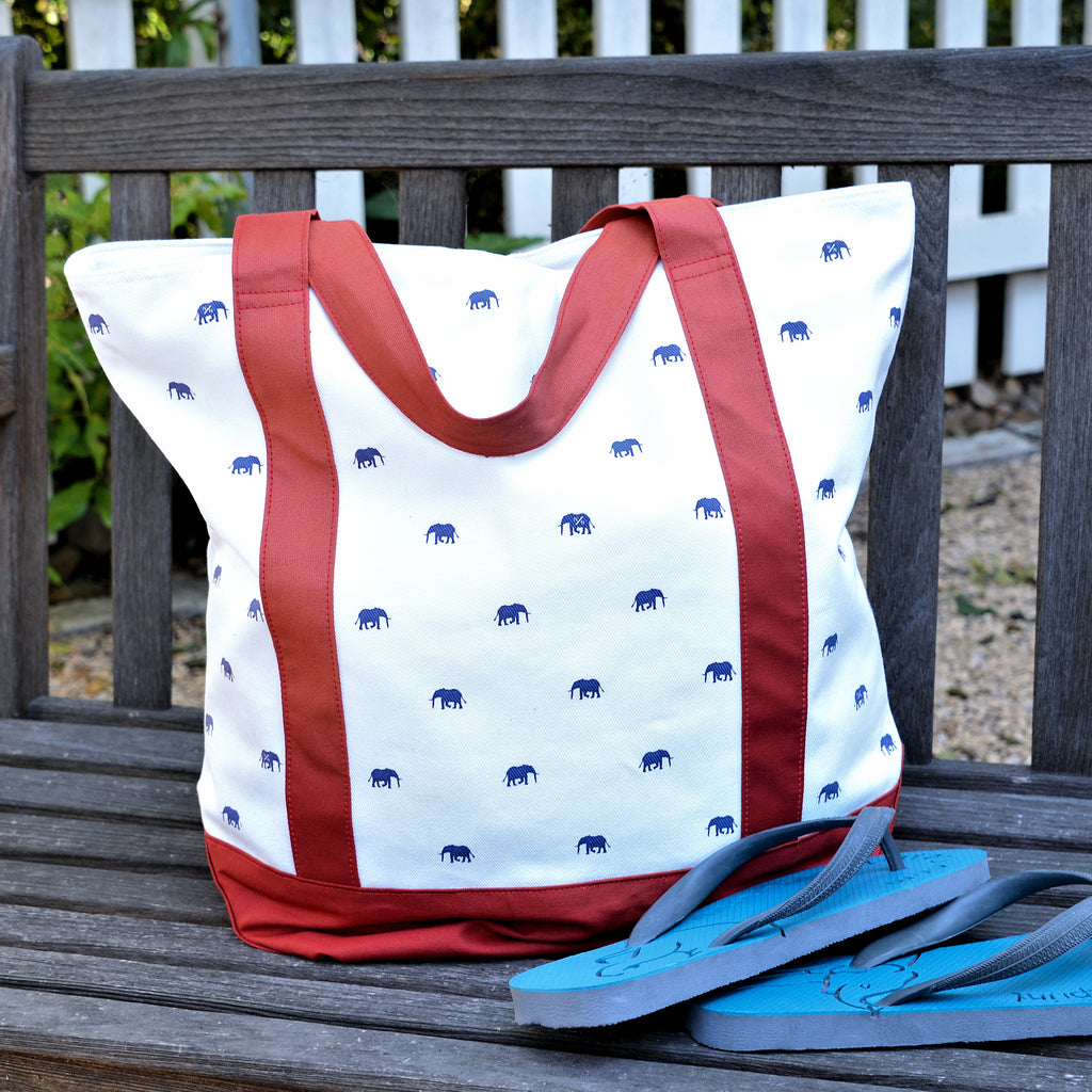 Elephant Print Tote Bag with Red Trim