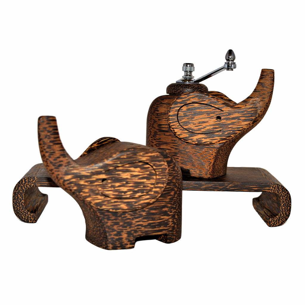 Wood Elephant Salt & Pepper Set with Stand - Coconut Wood