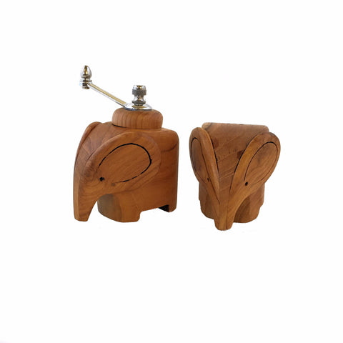 Wood Elephant Salt and Pepper Set - Sugar Palm