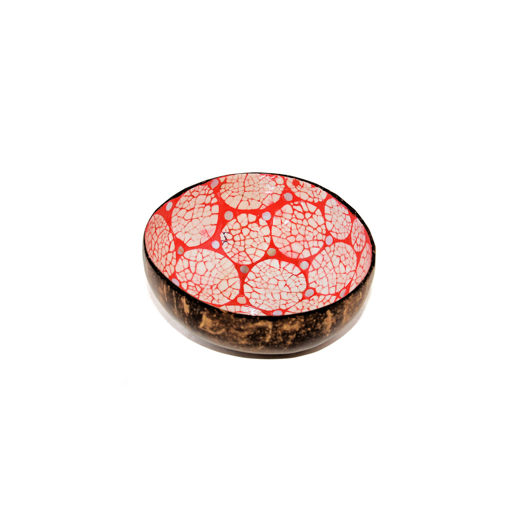 Eggshell Lacquered Coconut Shell Bowls - Pink and White Circle Pattern
