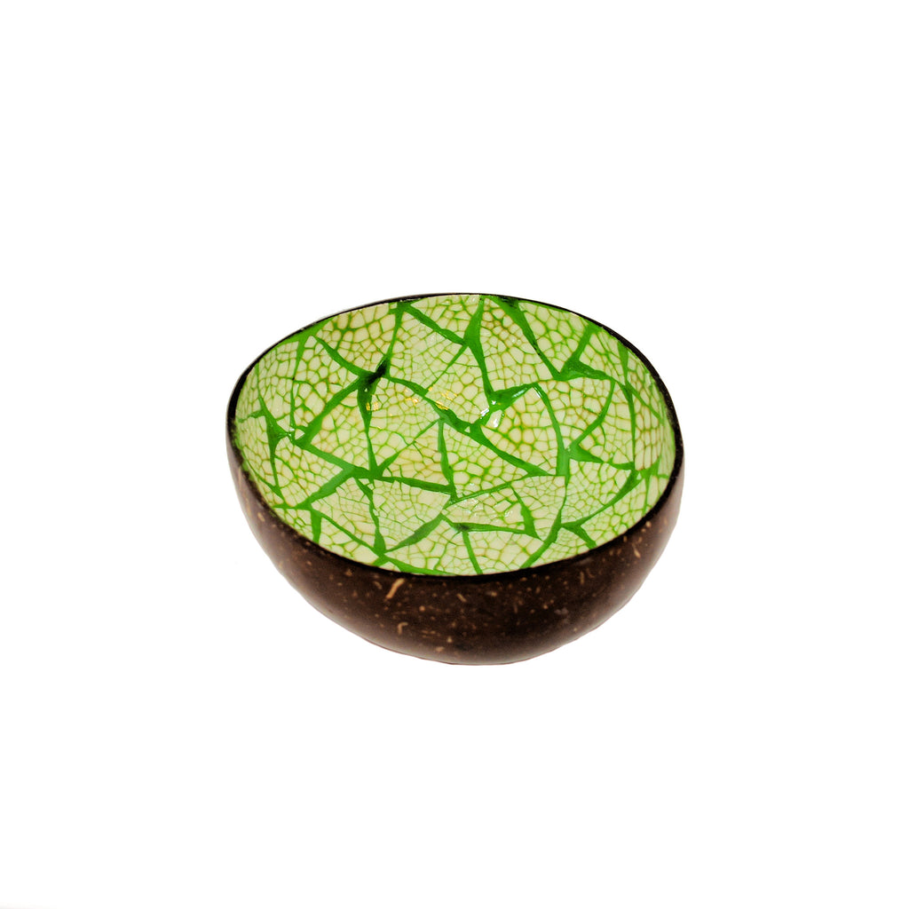 Eggshell Lacquered Coconut Shell Bowls - Lime Green and White Triangle Pattern