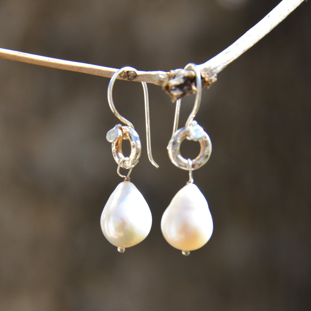 Freshwater Pearl Drop on Hammered Silver Circle Earrings