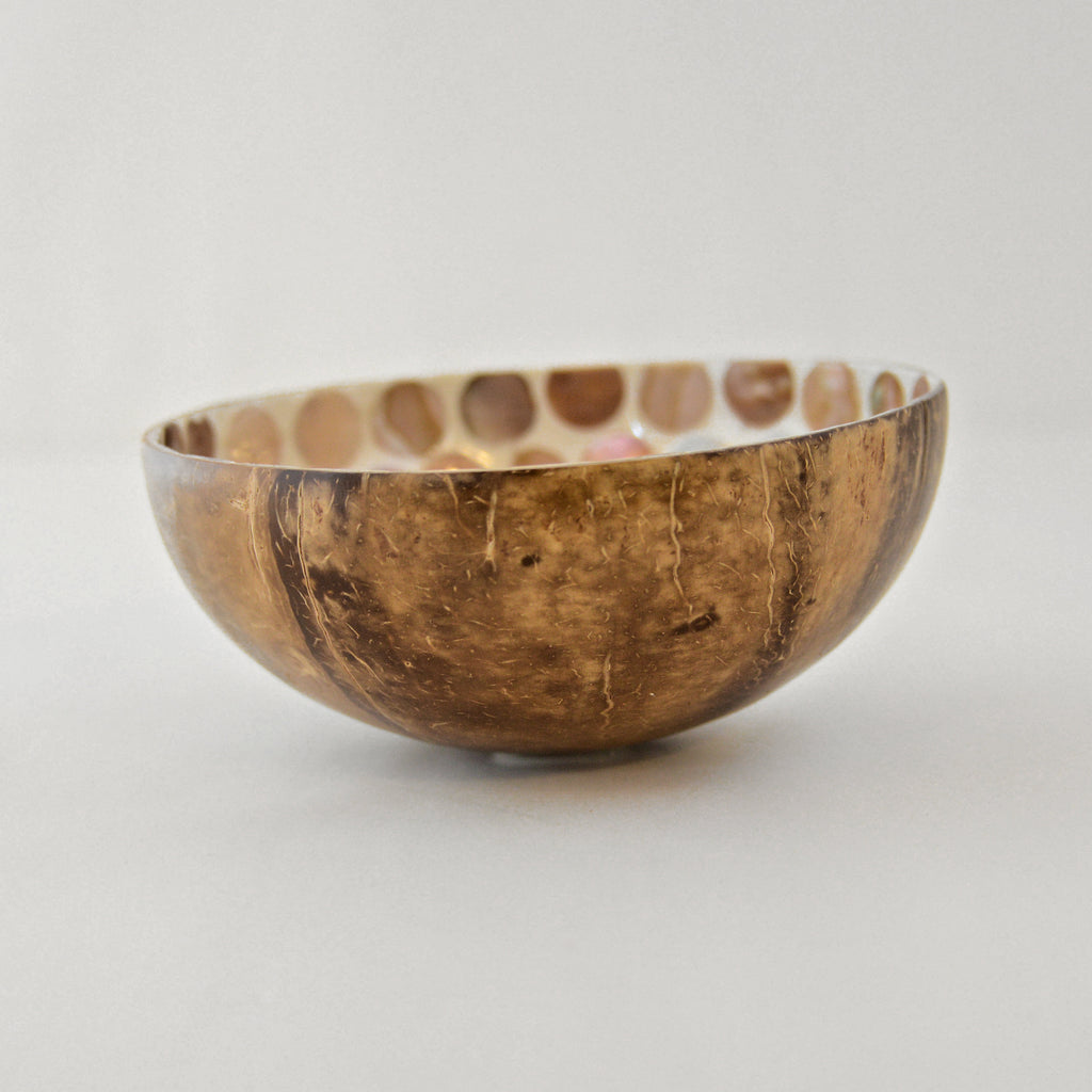 Oyster Shell Lacquered Coconut Bowl - Cream & Naturals