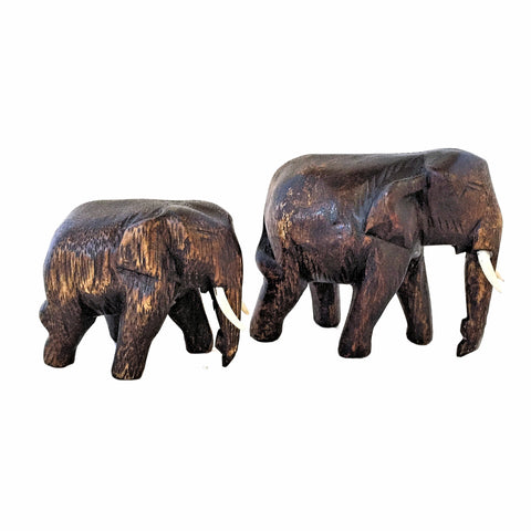 Small and Large Wood Carved Elephant