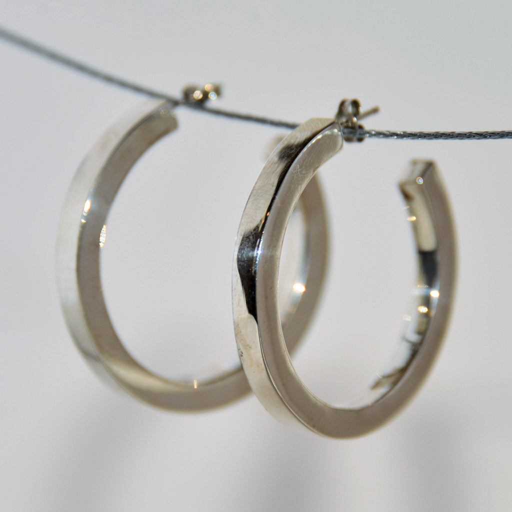 Sterling Silver Thick Ring Studded Earrings