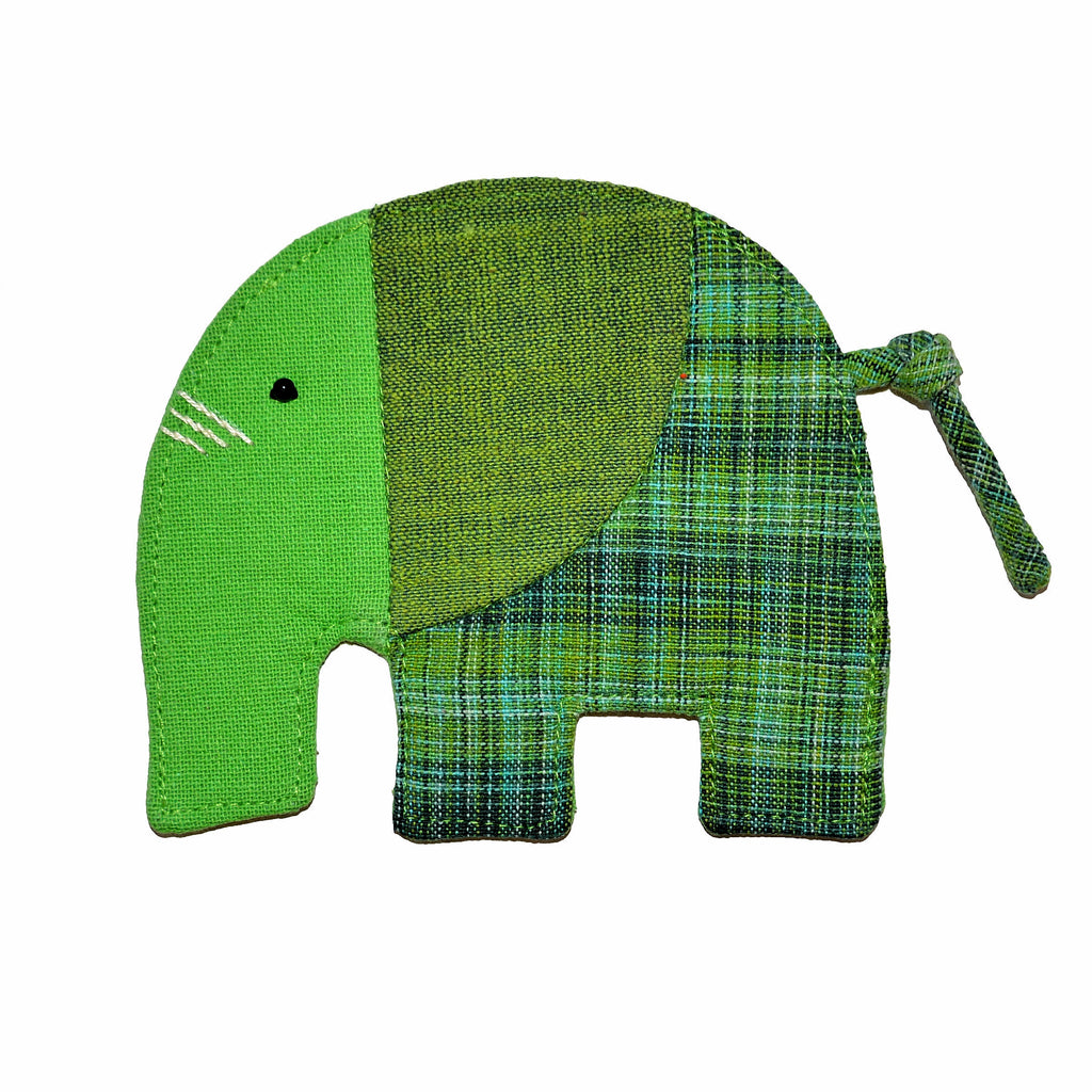 Cotton Elephant Coaster - Lime