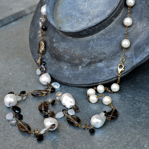 White Pearl & Topaz Gold Chain Necklace