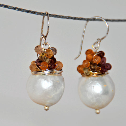 Baroque Pearl and Gemstone French Hook Earrings
